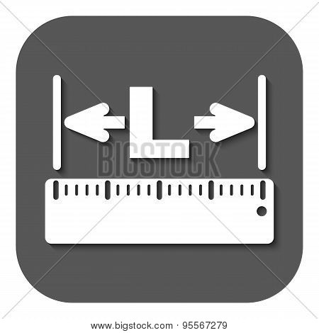 The Length Icon. Longitude, Yardage, Lgth Symbol. Flat