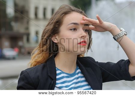 Business Woman Looking At Something Far Away