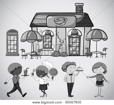 Restaurant with outdoor dining area and workers