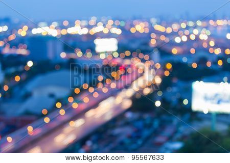 Blur motion of city road curve, abstract bokeh background