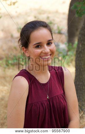 Cute Teenage Girl In Park