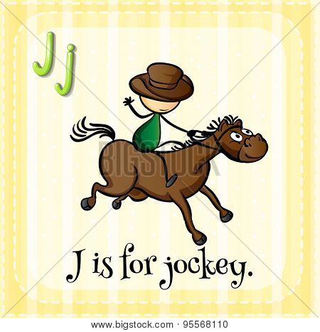 Flashcard letter J is for jockey