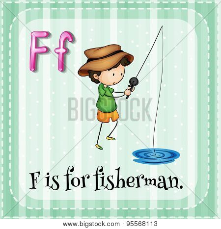 Flashcard letter F is for fisherman