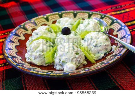 Bulgarian Salad made of yoghurt and cucumbers, called Snezhanka