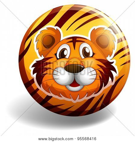 Tiger head on the round badge with tiger skin background