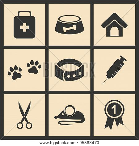 Flat in black and white concept mobile application veterinary medicine