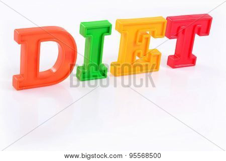 Word Diet Written By Colorful Letters On A White
