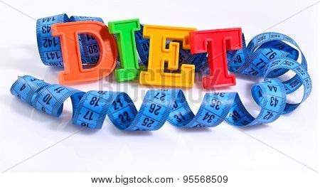 Word Diet Written By Colorful Letters With Blue Measuring Tape On White