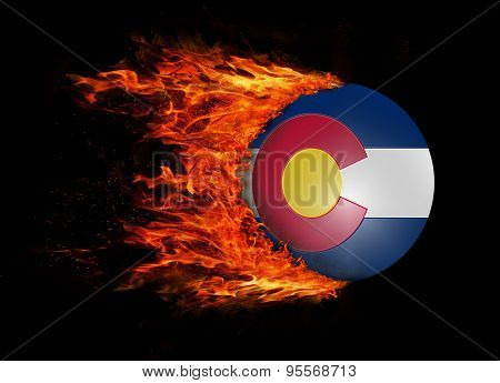 Us State Flag With A Trail Of Fire - Colorado