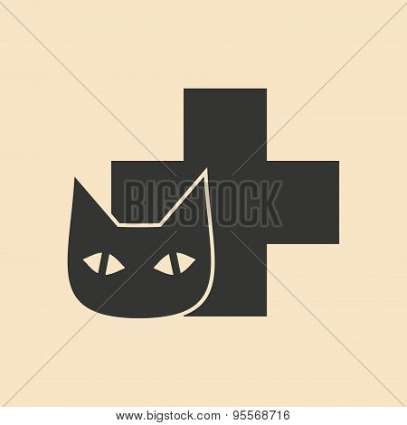 Flat in black and white mobile application Veterinary