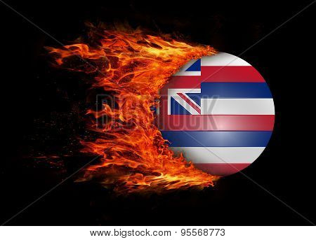 Us State Flag With A Trail Of Fire - Hawaii