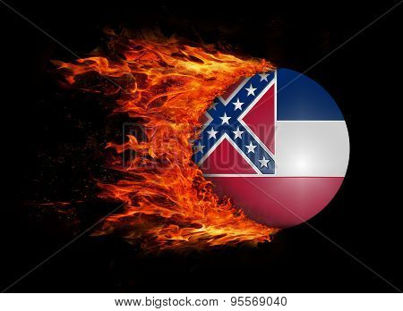 Us State Flag With A Trail Of Fire - Mississippi