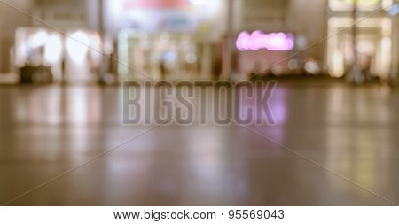 Blurred Image Of Shopping Mall With Shining Lights