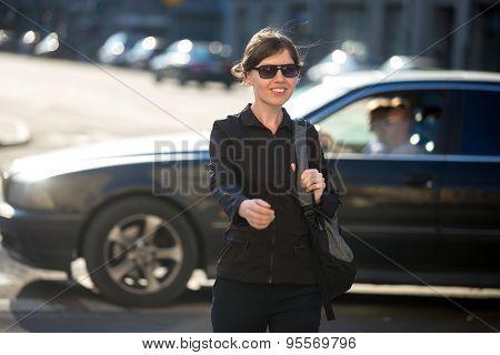 Young Woman On Pedestrian Crosswalk