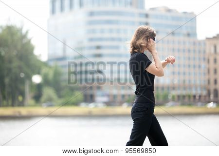 Business Woman In Hurry