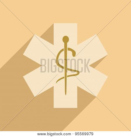 Flat with shadow icon and mobile application logos medical clinics