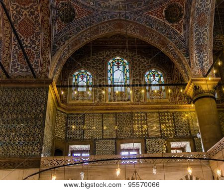 Interior View In Blue Mosque In Istanbul