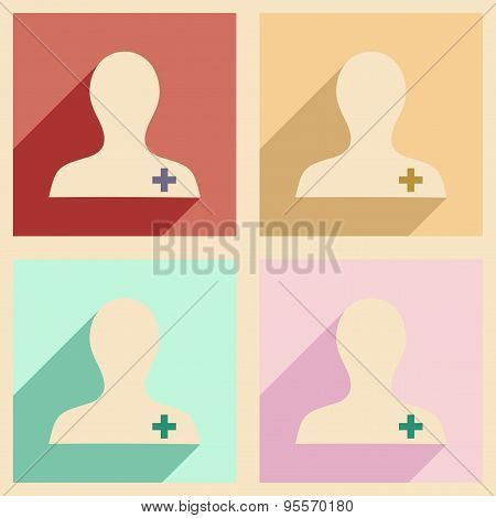 Flat with shadow concept and mobile application nurse