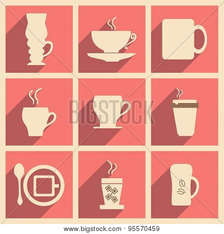 Flat with shadow concept and mobile application coffee break