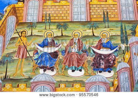 Wall Painting  Of Abraham, Isaac, Jacob At Rila Monastery, Bulgaria