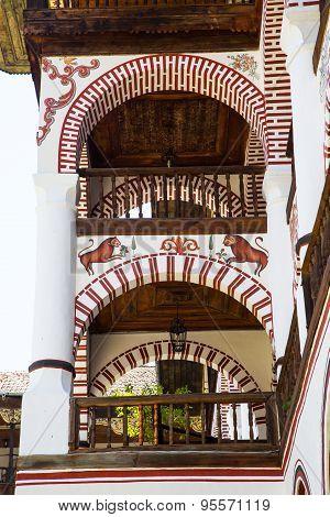 Exterior Details Of Famous Rila Monastery, Bulgaria