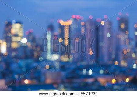 Abstract bokeh Bangkok city skyline night lights