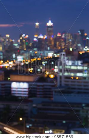 Blur of city lights at night, abstract bokeh background