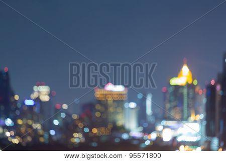 Bangkok city skyline, abstract blur bokeh background
