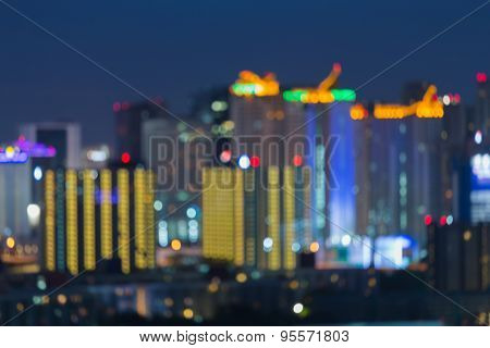 Bokeh cityscape view, abstract blur background
