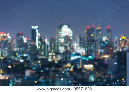 Beauty of bokeh city lights at night