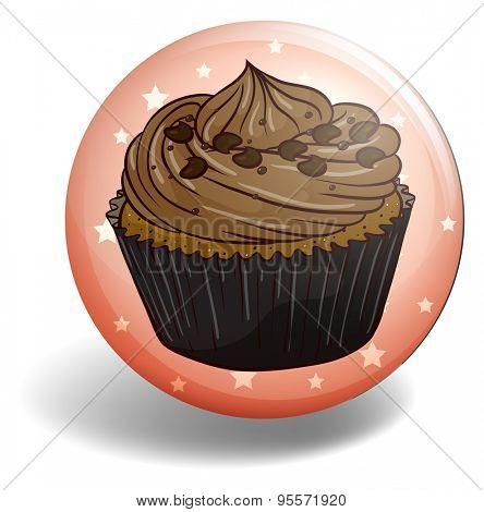 Chocolate cupcake in round badge