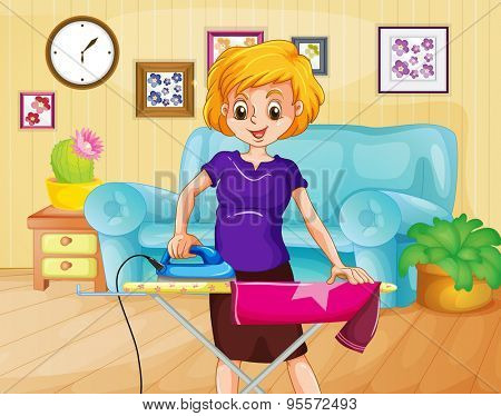 Woman ironing shirt in the living room