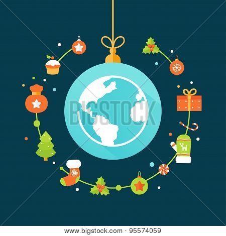 Earth Globe and Christmas Decorations. Christmas and New Year Celebrations Around the World