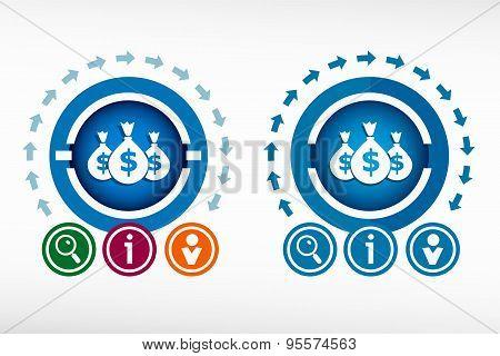 Money Icon And Creative Design Elements.