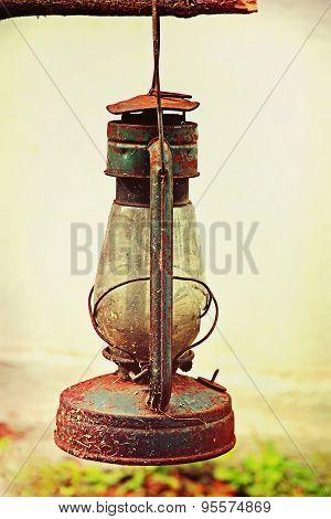 Old Vintage Kerosene Lamp Outdoors Taken Closeup.