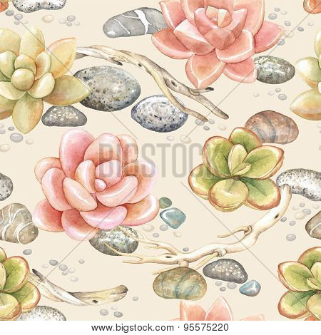 Seamless pattern of watercolor Succulents, dry branches and stones, vector illustration on beige background.