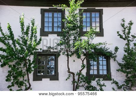Windows of an old house in a peaceful town