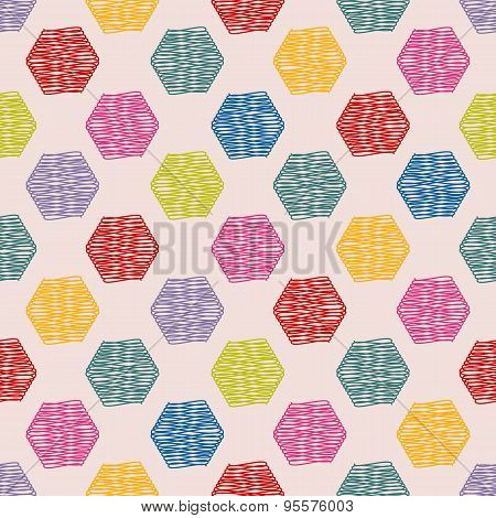 Scribbled Hexagon Color Pattern