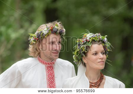 Newlyweds In Traditional Russian Dress