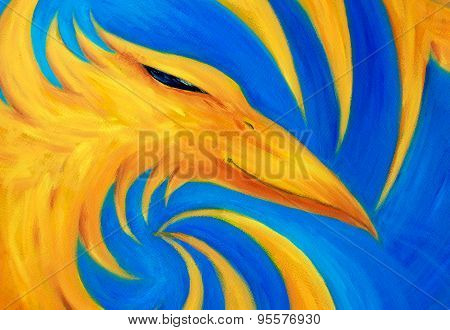 Fire Phoenix On Blue Background, Original Oil Painting, Phoenix Is Yellow Color