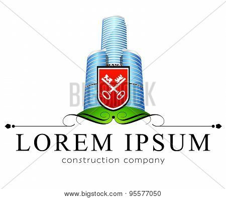 Logo template, construction, skyscraper, real estate business