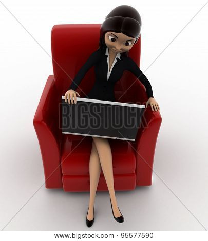women looking  watching into laptop screen while sitting on sofa concept