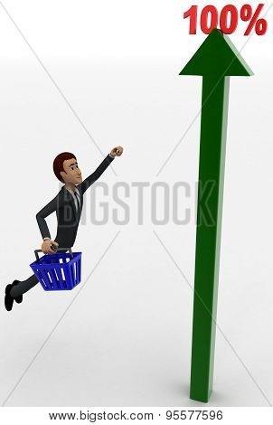 man flying upward towards a 100 percentage static arrow graph concept
