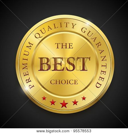 Best golden metal badges set. Round gold medal or emblems with text.
