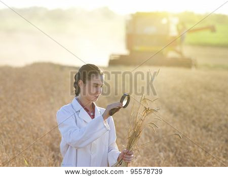 Woman Agronomist With Magnifer In Field
