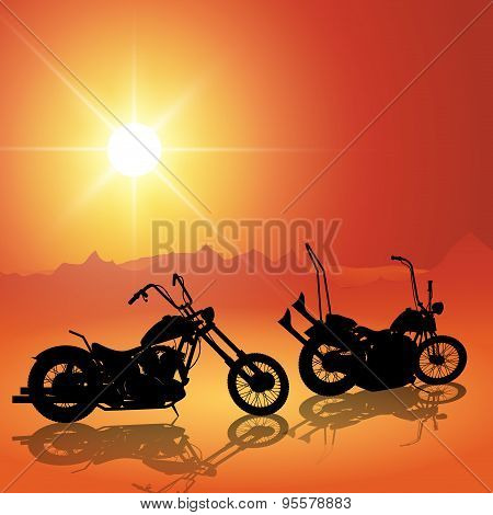 Motorcycles At Sunset