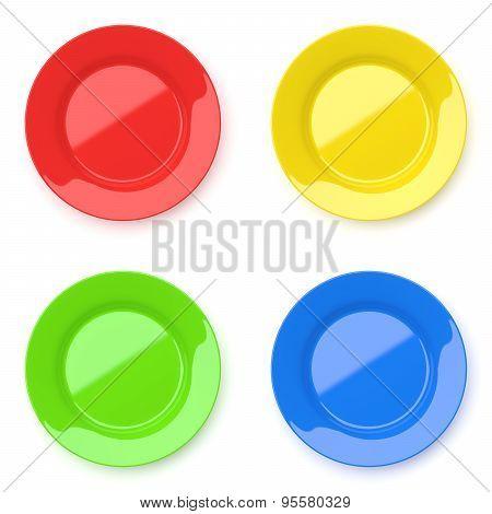 Empty Color Ceramic Round Plates On White