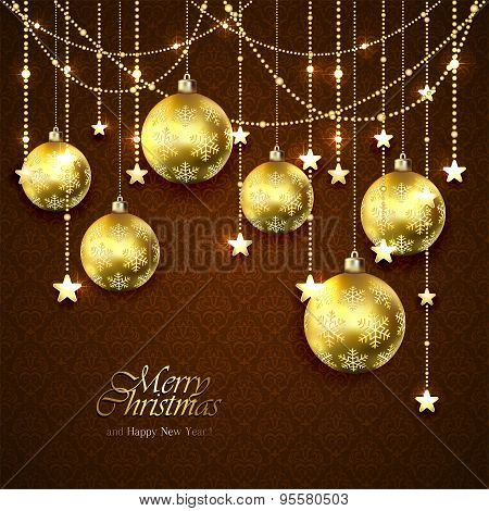 Golden Christmas Balls And Stars On Brown Background