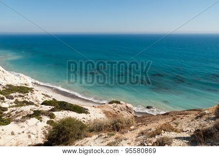 Wild Beach Near Petra Tou Romiou At Summer. Cyprus