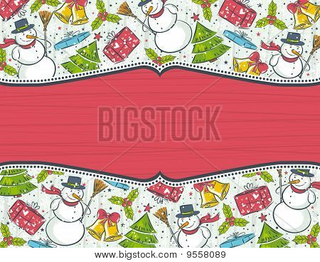 Grunge Background With Christmas Elements, Vector